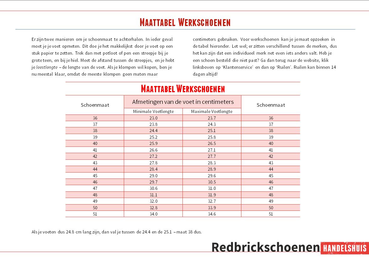 1ae48625ffd Maattabellen - Redbrickschoenen.nl
